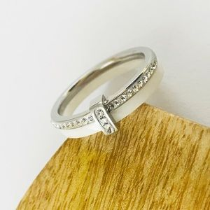 Jewelry - Stainless Steel and Ceramic Stacked Ring Crystal